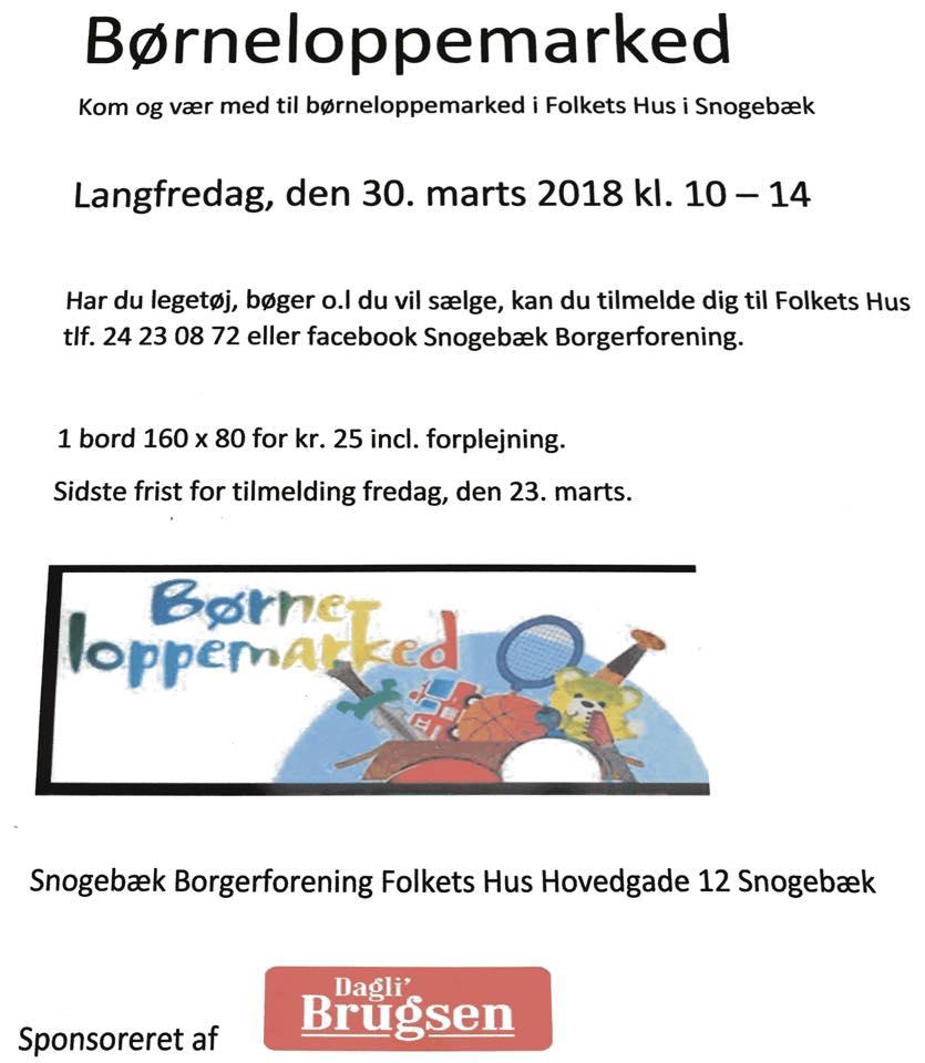 Børneloppemarked i Snogebæk @ Folkets Hus   Nexø   Danmark